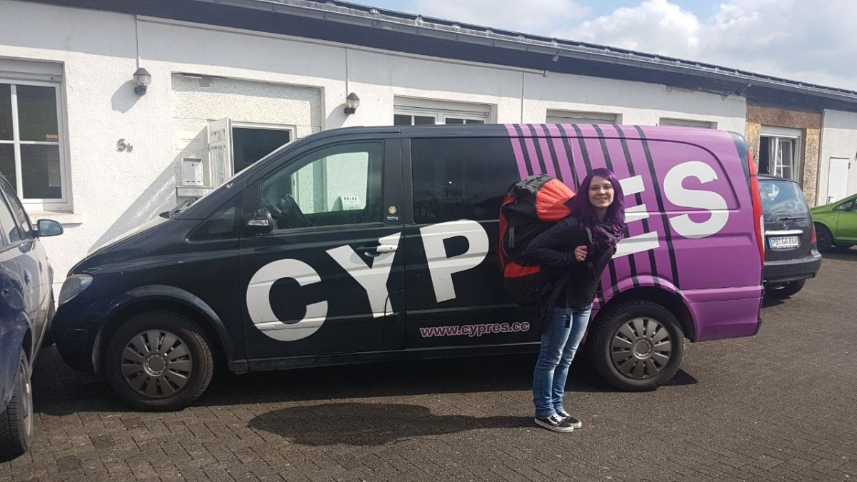 Chiara standing in front of the CYPRES van.