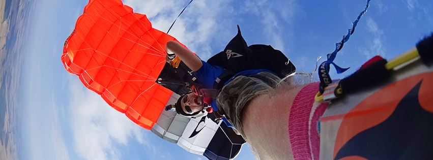 A shoe mounted, Go-Pro photo of James 'Macca' Macdonald under parachute.