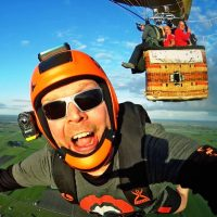 James Macca Macdonald exiting a hot air balloon for a skydive.