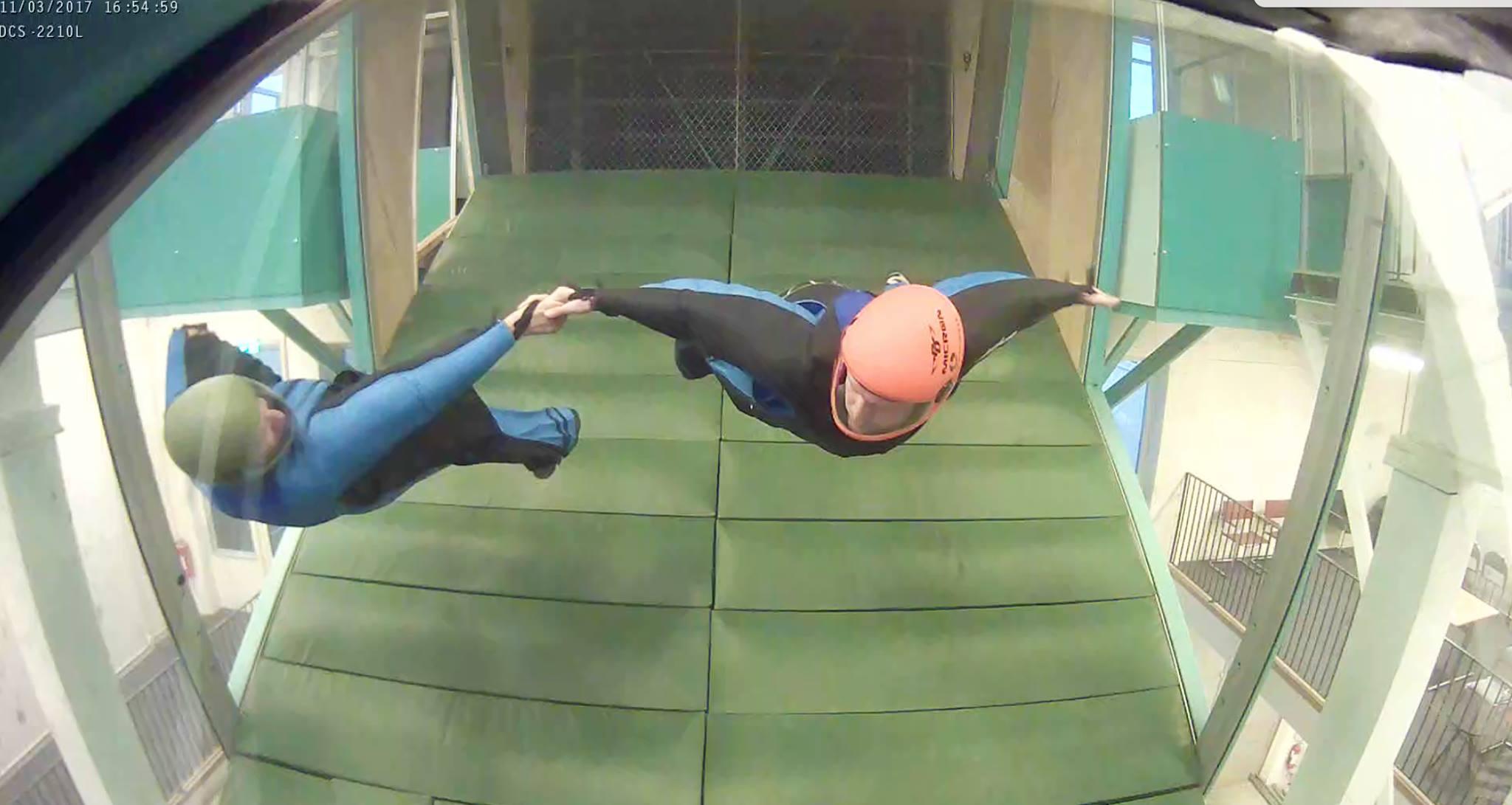 James flying in the indoor wingsuit wind tunnel.
