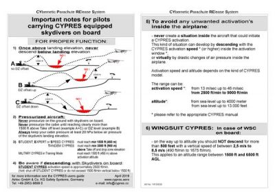Important notes for pilots carrying CYPRES equipped skydivers on board