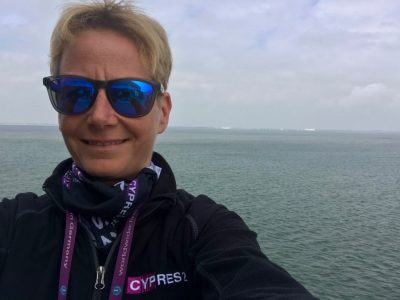 CYPRES crew member Jacky on the ferryboat on her way to Texel in April 2018