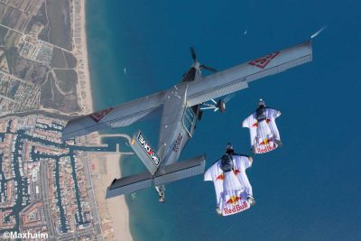 Wingsuit skydivers Fred Fugen and Vince Reffet approaching the jumpplane