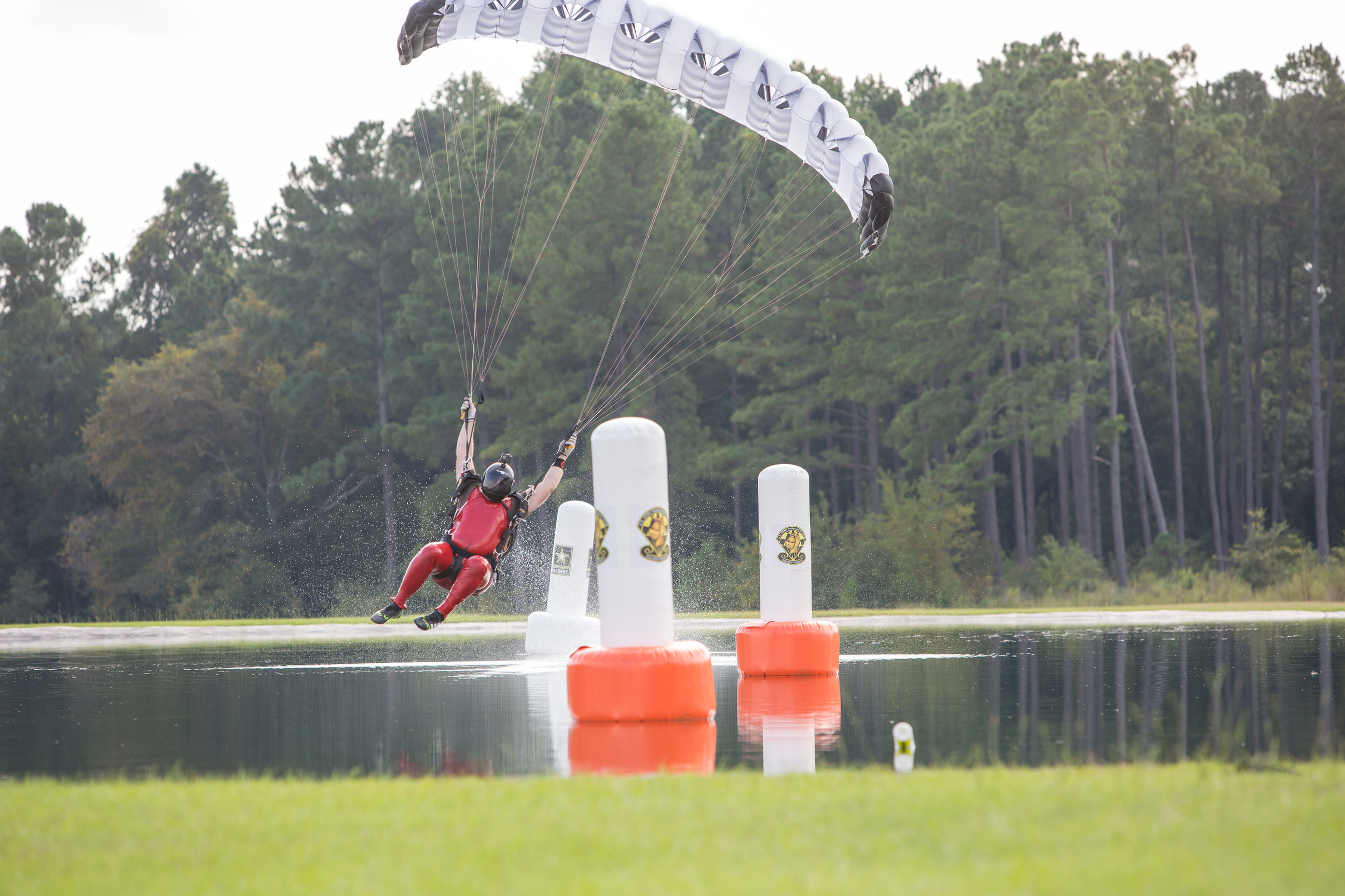 Greg Windmiller swooping in his slick red swoop at the US Nationals of Canopy Piloting.