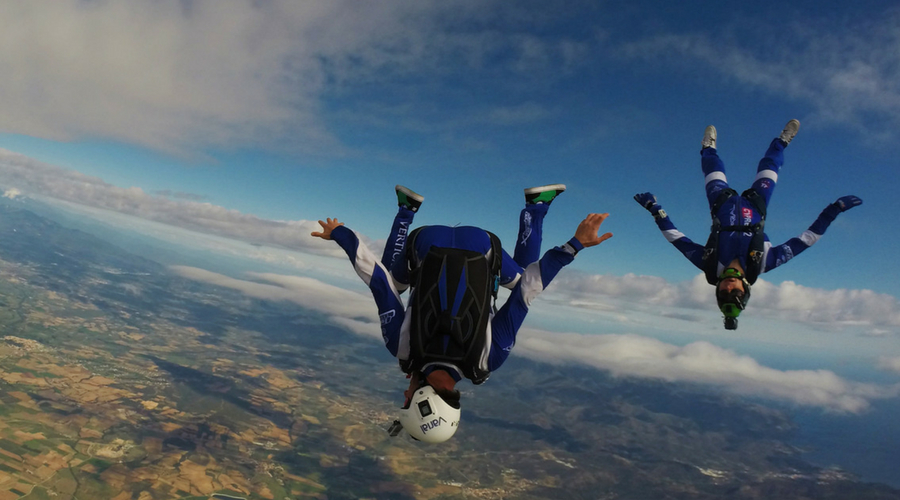 Joel Strickland in freefall with team member