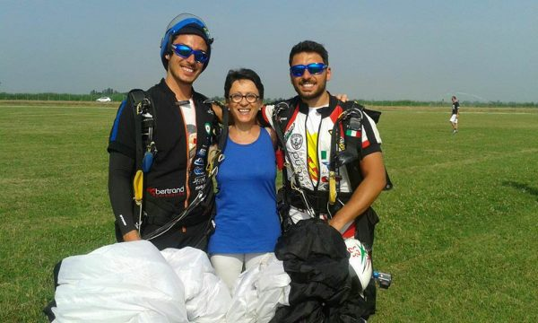 The Fattoruso brothers pose with their mom in the landing area at the 2016 Italian Nationals