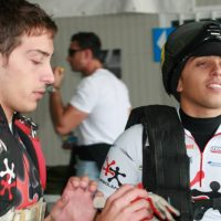 The brothers prepare for a skydive at the 2009 Italian National Swoop competition.