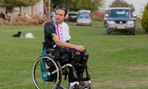 Alex Feteros in his wheelchair before a skydive.