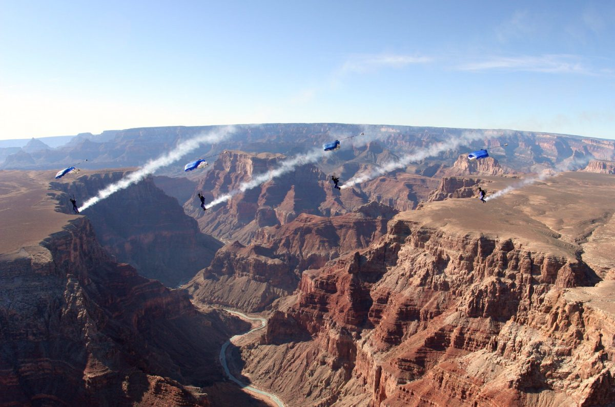 The PD Factory Team flying over the Grand Canyon. Photo by JC Coclasure