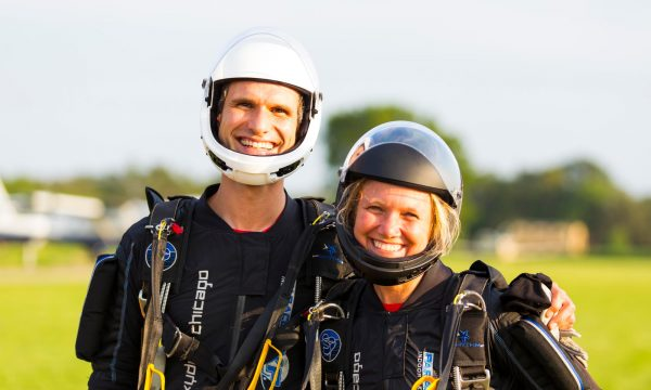 Steve and JaNette Lefkowtiz pose together after a skydive