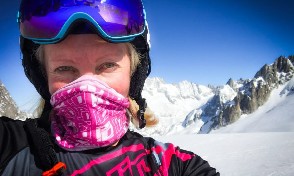 Maxine Tate takes a selfie while skiing in the mountains