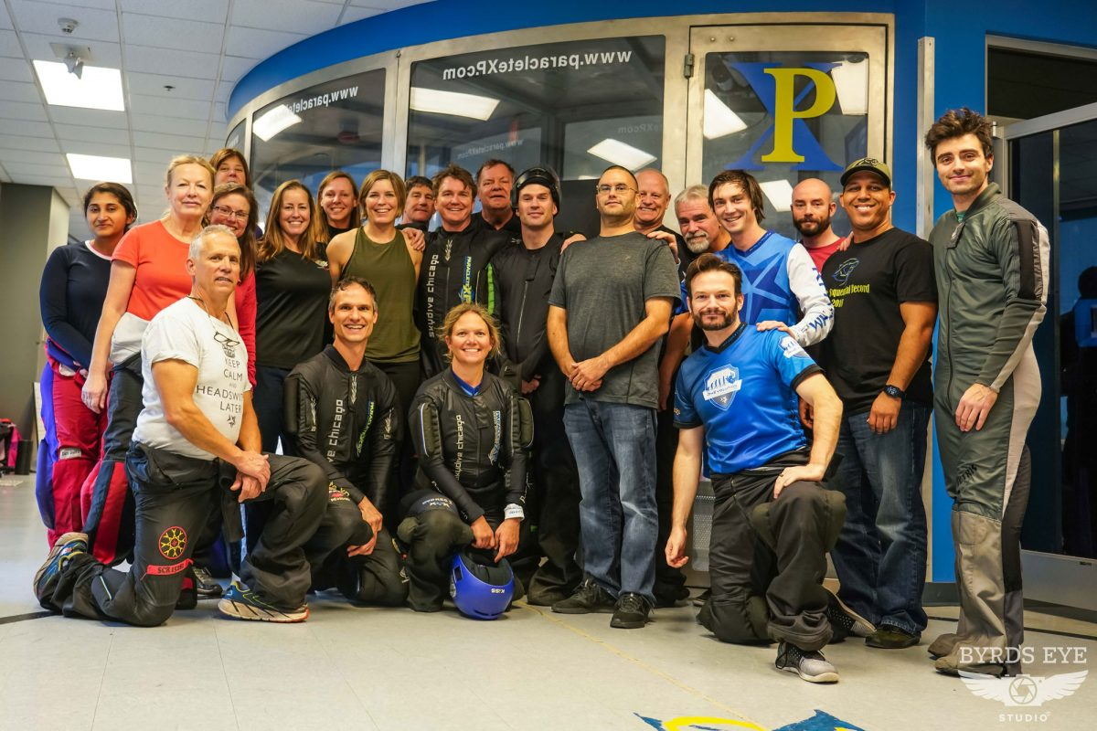 Rhythm trains a large group at the wind tunnel