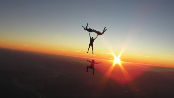 Eugenio skydives at sunset over Skydive Andes