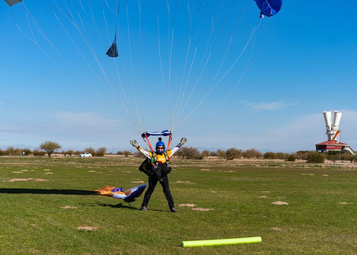 Kaz lands after a demo at Skydive Arizona