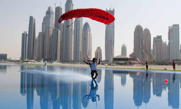 Omar Alhegelan swooping across the pond at Skydive Dubai