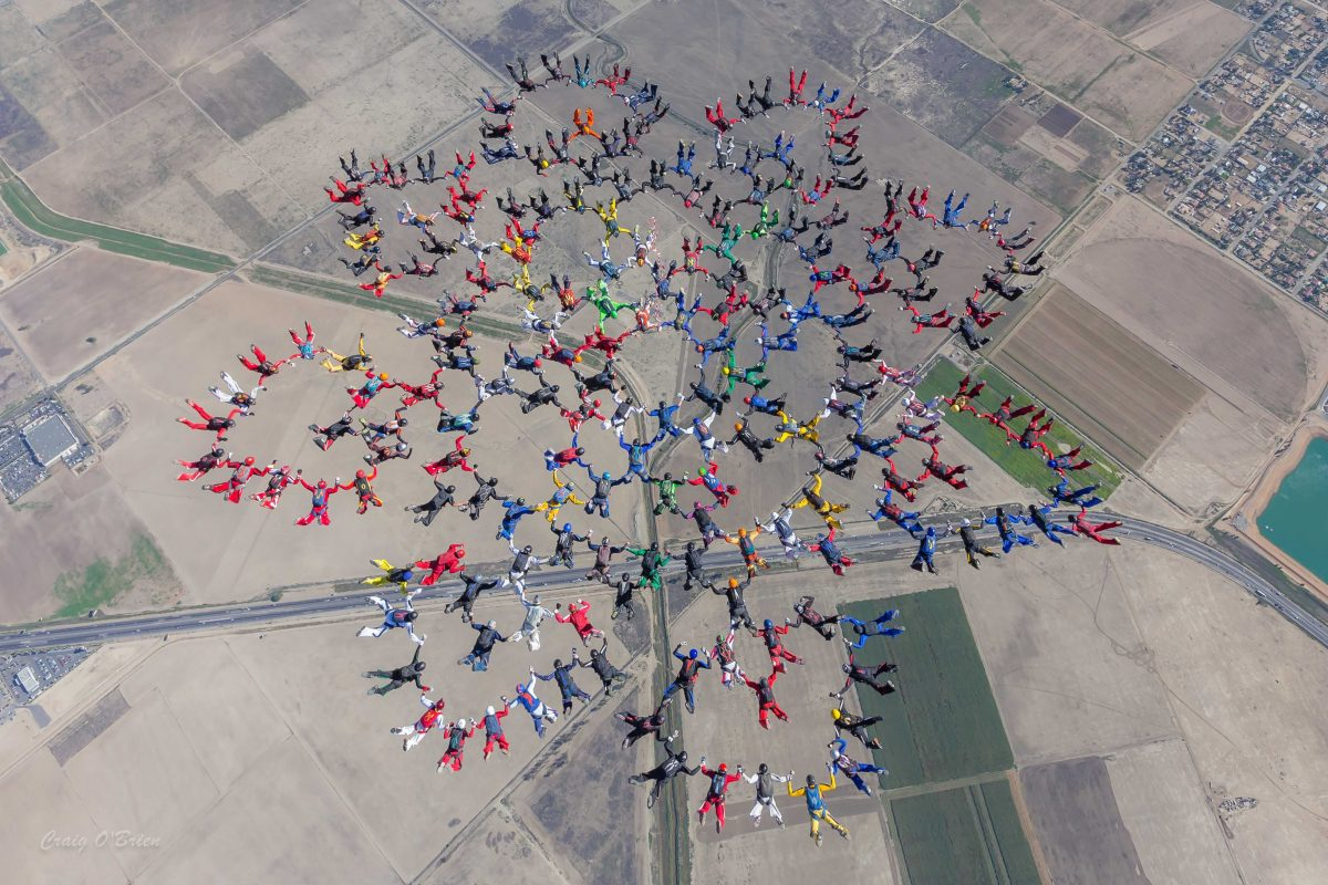 A photo of a large formation skydiving bigway