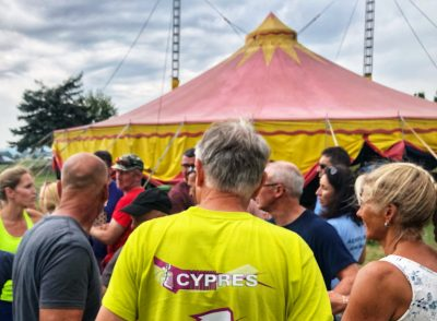 CYPRES Shirt in fron of the Circus tent in Klatovy