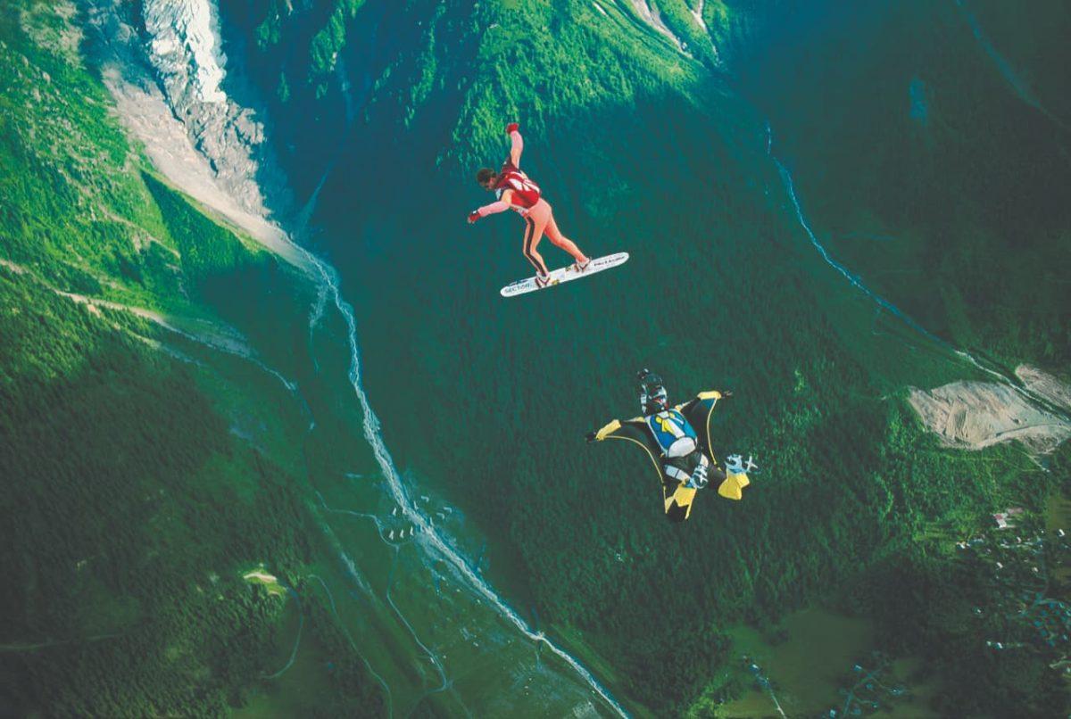An outside photo of Joe Jennings shooting video of Patrick de Gayardon above Chamonix, France