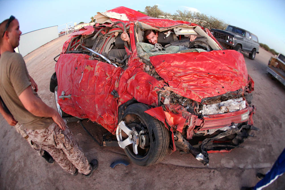 A Chevy Sonic smashed in the desert