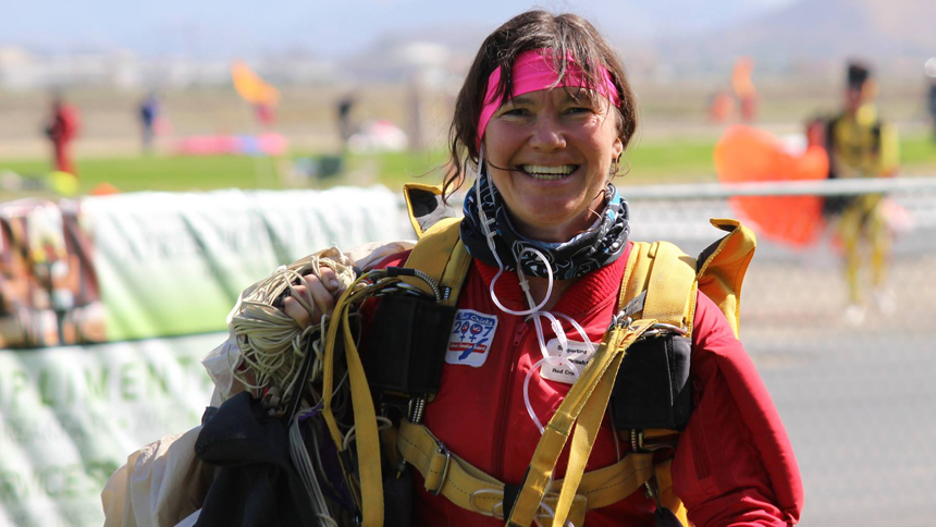 Lesley Gale smiles after a jump