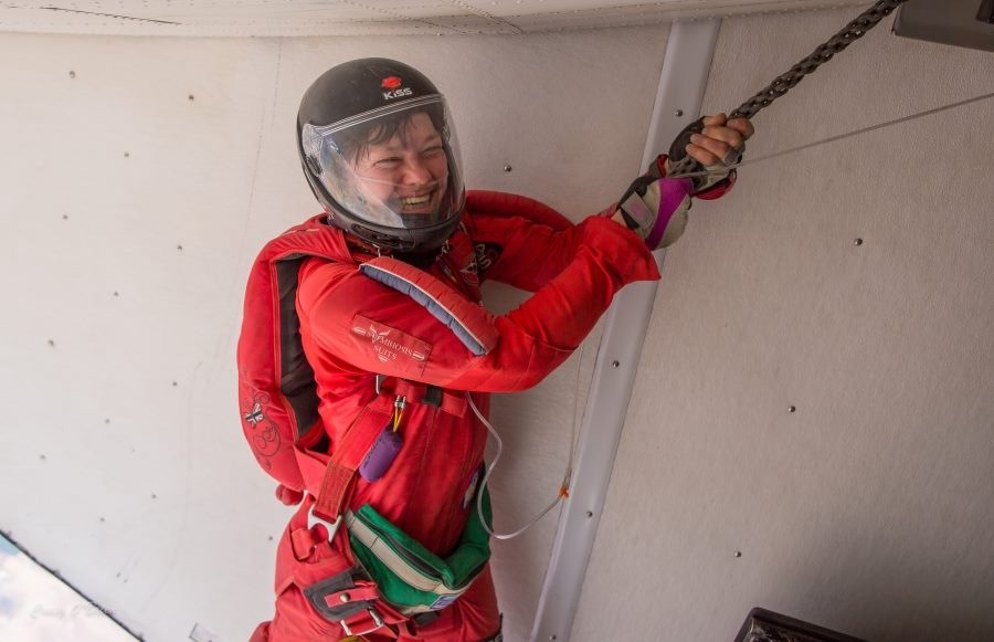 Lesley prepares to exit from an aircraft